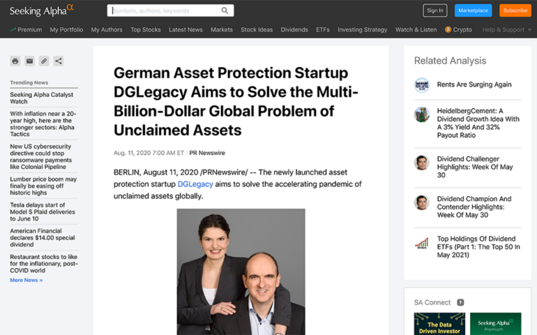 Seeking Alpha, about the German Asset Protection Startup DGLegacy