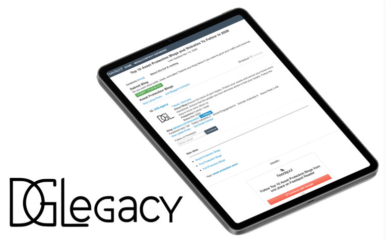 DGLegacy featured in Feedspotone as one of the Top 10 Asset Protection Blogs