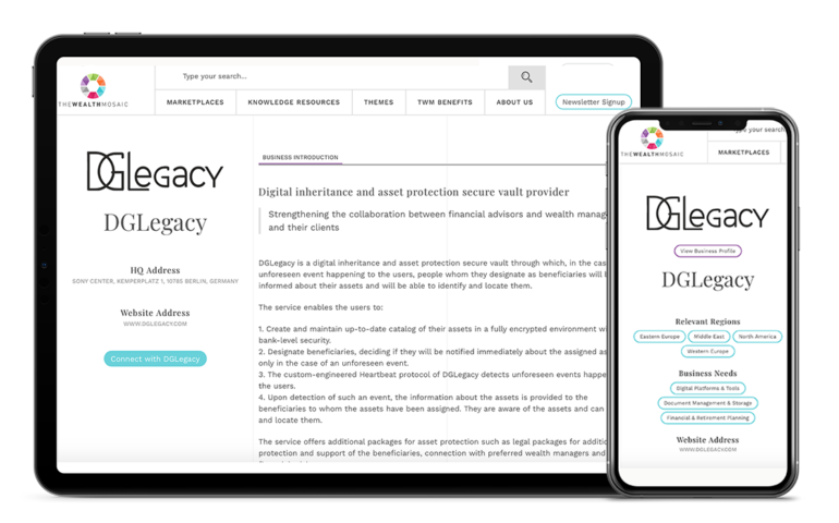 DGLegacy solution for wealth managers