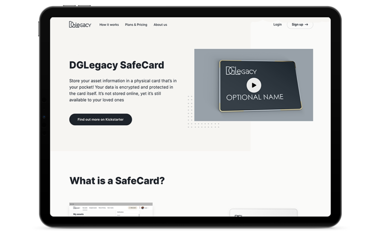 DGLegacy SafeCard fully encripted right there in your pocket