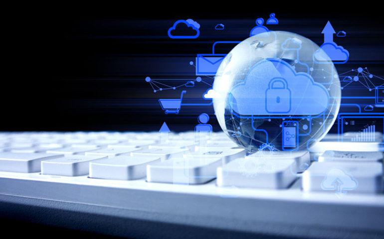 Globe world earth on the white keyboard