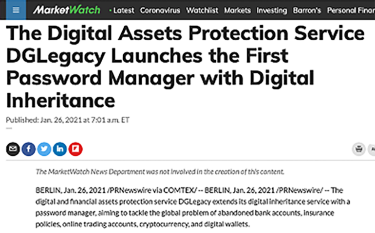 DGLegacy's Password Manager featured in MarketWatch