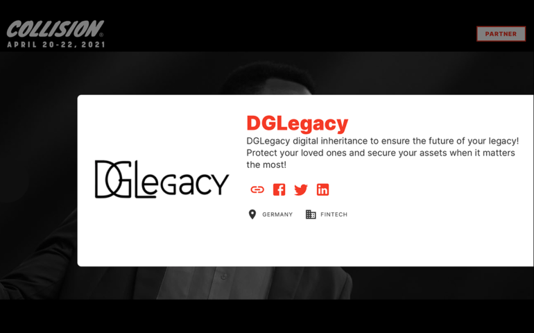 DGLegacy - the Fintech and Lawtech startup at Collision 2021