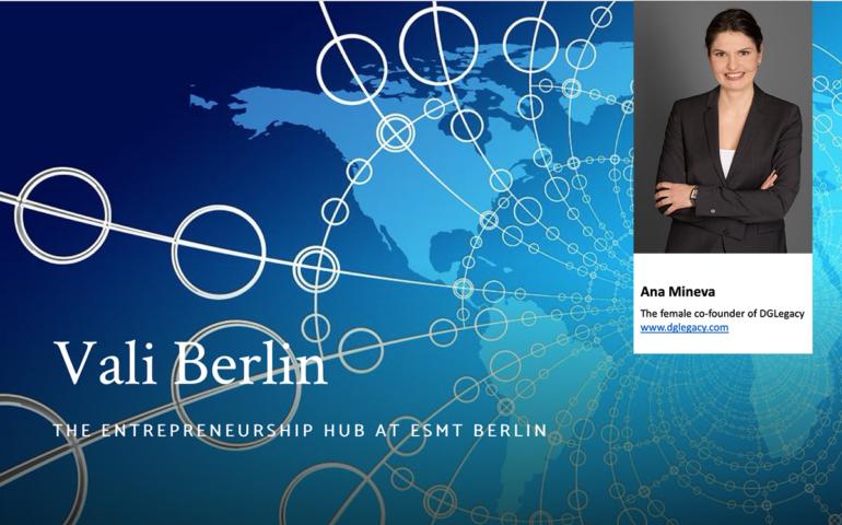 Ana Mineva, the female co-founder of DGLegacy, speaking about entrepreneurship at ESMT Berlin
